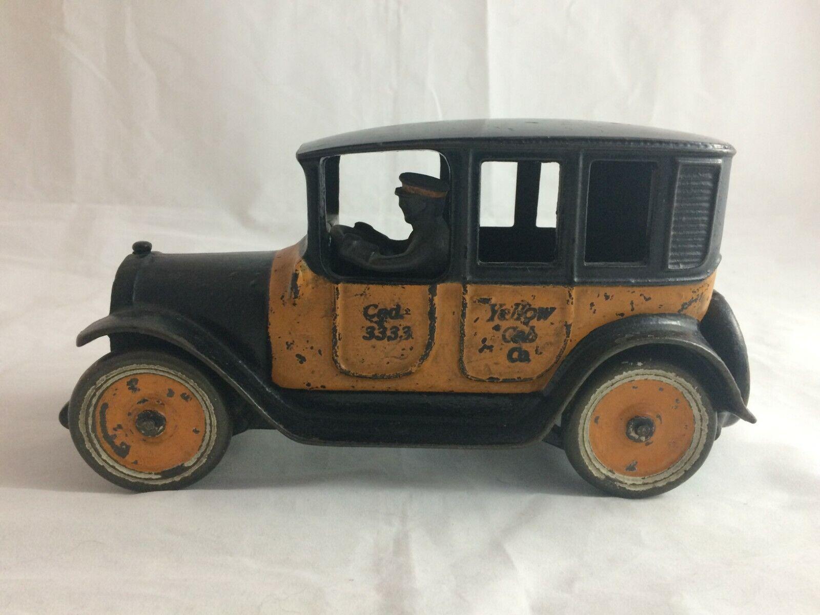 ANTIQUE ARCADE ARCADE ARCADE YELLOW TAXI CAB CAST IRON 1920's ORIGINAL PAINT TOY TAXI 9  dbe1bd