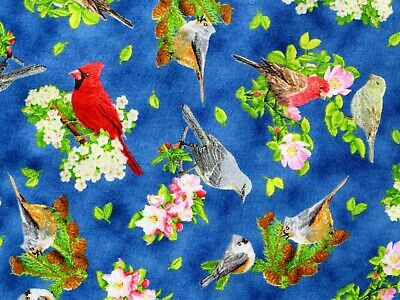 SONGBIRD FABRIC CARDINALS QUILTING COTTON  SONGS OF NATURE BLUE JAY  BY THE YARD