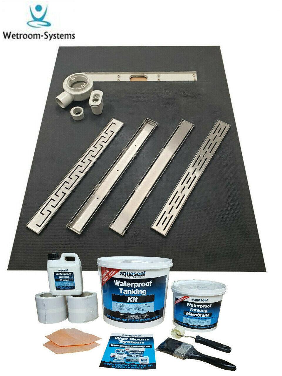 Pièce Humide Bac Douche Kit MAX FLUX 50ltr système linéaire & Aqua lache Kit