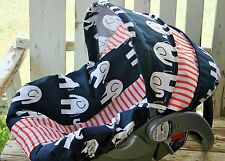 Baby Infant Car Seat Cover And Hood Blue Elephants With Orange Stripe