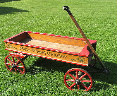 Antique 1915 Chicago Auto Wheel Coaster Stencil Childs Wood Wagon Wbrake Ebay