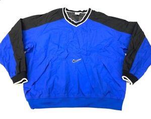 Nike-Mens-Pullover-Windbreaker-Jacket-Blue-Swoosh-100-Nylon-Vintage-XL