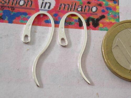 1 paio di particolari ganci orecchino ad amo piatto lungo in argento 925 italy