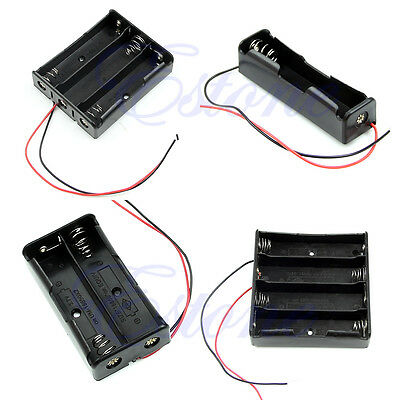 """Black Case Holder Plastic Storage Box For 18650 Battery With 6"""" Wire Leads New"""