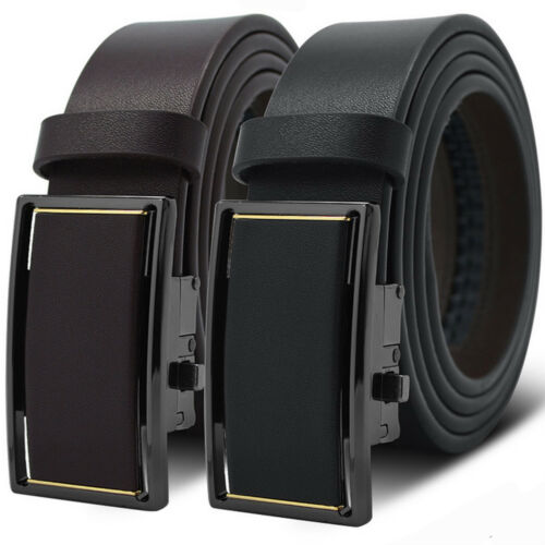 Men/'s Genuine Leather Exact Fit Automatic Buckle Ratchet Dress Belt