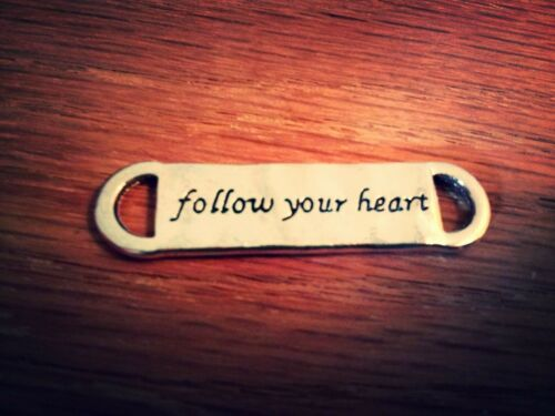 1 Quote Pendant Connector Antique Silver Tone Inspirational Word Link