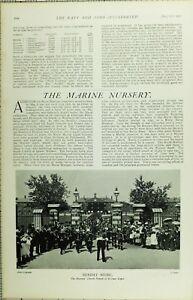 1902-PRINT-MARINE-NURSERY-SNDAY-MUSIC-MARINES-CHURCH-PARADE-AT-WALMER-DEPOT
