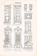 Tafel OFENBAU / ZIMMEROFEN / KACHELOFEN 1890 Original-Holzstich