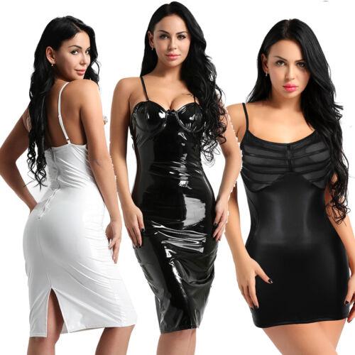 Women Ladies Plus Wet Look Bodycon Evening Party Cocktail Pencil Club Mini Dress