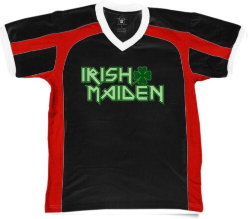Irish Maiden Shamrock Ireland Woman Heritage Band Metal Men/'s V-Neck Sport Tee