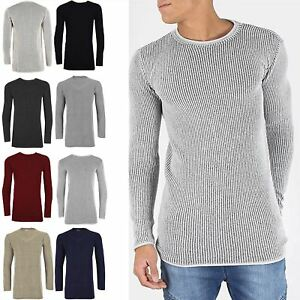Mens-Long-Sleeve-Longline-Crew-Neck-Chunky-Contrast-Rib-Knitted-Pullover-Jumper
