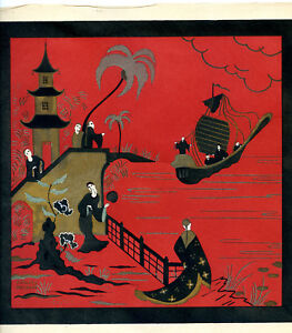 1930s-French-Pochoir-Print-Edouard-Halouze-Art-Deco-Asian-Monks-Pagoda-Boat