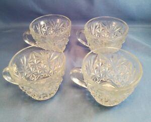 4-Vintage-Arlington-by-Anchor-Hocking-Flat-Punch-Cups-Diamond-amp-Fan-Design