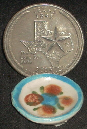 Tonala Pottery Plate 1:12 Blue TC411 Mexican Import vary Dollhouse Miniature