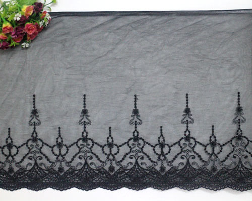 """12""""*1yard Embroidered Tulle Fabric Lace Trim Crafts/Sewing Black"""