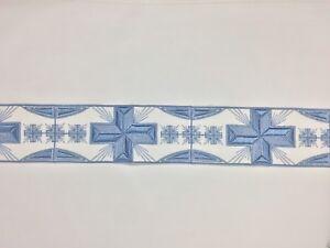 Orphrey-Vintage-Gris-Azul-Encendido-Blanco-Vestment-Lazo-8-9cm-Ancho-Vendido-Por