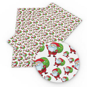 20-34cm-Santa-Christmas-Tree-Circle-Printed-Faux-Leather-For-DIY-Crafts