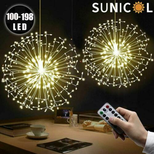⭐100-198LED Outdoor Firework Christmas Fairy String Light Copper Wire Waterproof