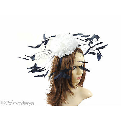White Navy Fascinator Hat For Weddings/Ascot/Proms With Headband