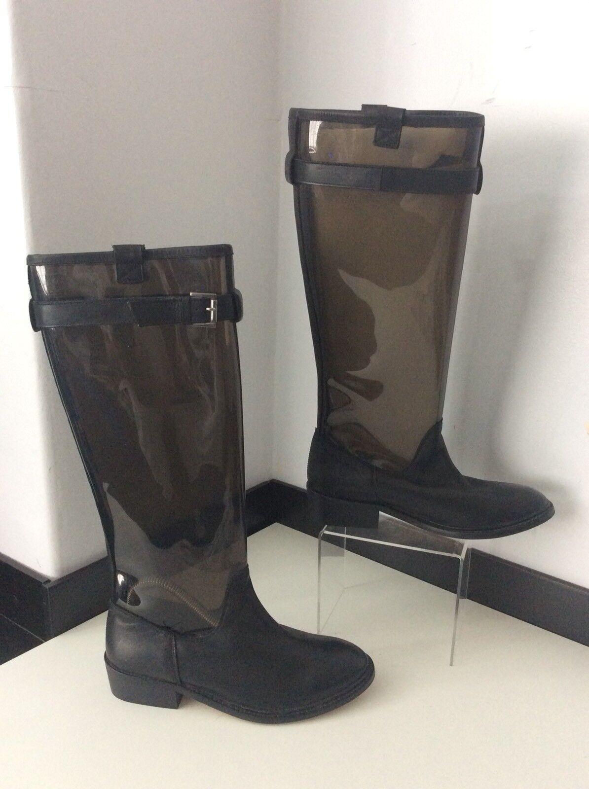 Topshop Duque Nuevo Negro Wellies Cuero 38 38 38 Reino Unido 5 BNWOB   de la rodilla botas altas  marca en liquidación de venta