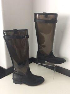 e4bdbad71b36 Topshop DUKE NEW Black Wellies Leather 38 Uk 5 Bnwob Rrp £95 Knee ...