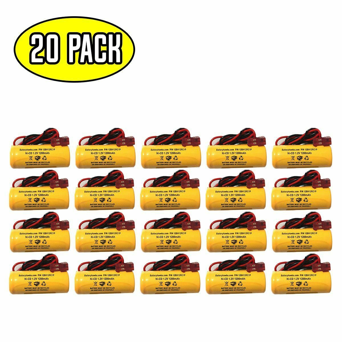 (20 pack) 1.2v 1200mAh Ni-CD Battery Pack Replacement for Emergency / Exit Light