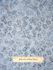 Tonga Batik Christmas Leaf Branches Blue Fabric Cotton Timeless Treasures YARD