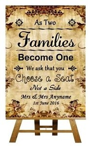 d25763c858945b Autumn Vintage Pick A Seat Not A Side Personalised Wedding Sign ...