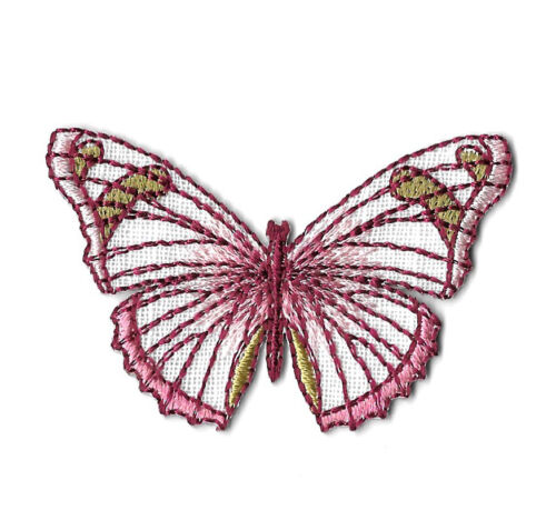 Insect Pink /& Burgundy Embroidered Iron On Applique Patch Butterfly