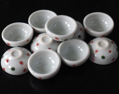 Dollhouse Miniatures 10 Green /& Red Dot Ceramic Bowls Supply Deco Size 20 mm.