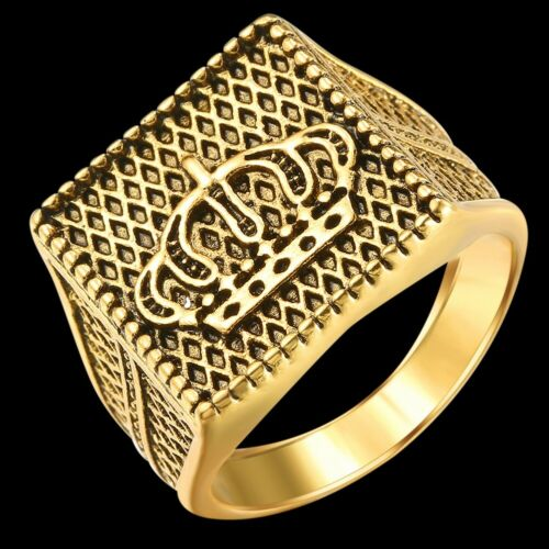 Crown Men Ring Punk HipHop Trendy Cool Alloy Jewelry Gold Silver Size 8-10
