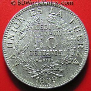 1909-H-BOLIVIA-50-CENTAVOS-1-2-BOLIVIANO-SILVER-BIRMINGHAM-MINT-BOLIVIAN-COIN