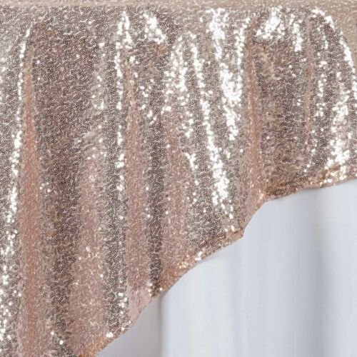 """Blush SEQUIN 72x72/"""" TABLE OVERLAY Sparkly Wedding Party Catering Event Linens"""