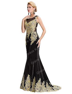 Damen Lang Applique Abendkleid Ballkleid Brautkleid Hochzeit Kleider Gr:32-46