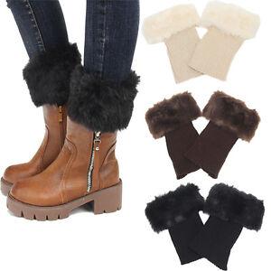 Womens-Jambiere-en-tricot-fourrure-Trim-poignets-Chaussures-Boots-Chaussettes