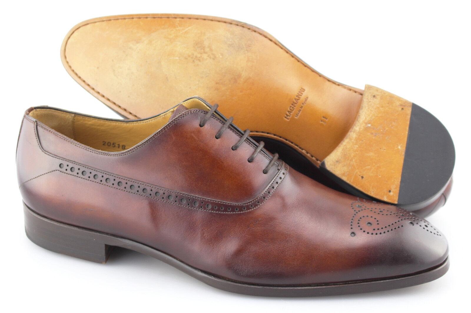 Men's MAGNANNI 'Manolo' Cognac Brown Leather Medallion Toe Oxfords Size US 11 -D