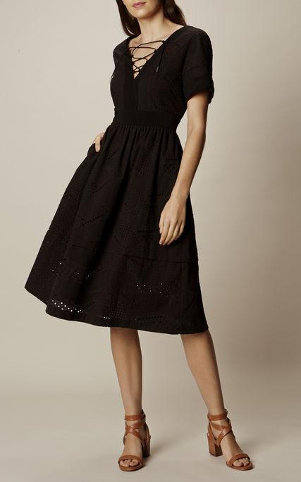 Karen Millen schwarz Tie Lace Broderie A Line Cotton Boho Races Dress - Größe UK8