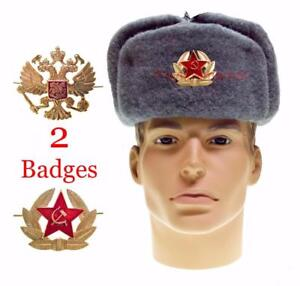 04461fae141af Image is loading Ushanka-Military-Winter-Hat-Soldier-Russian-Army-Soviet-