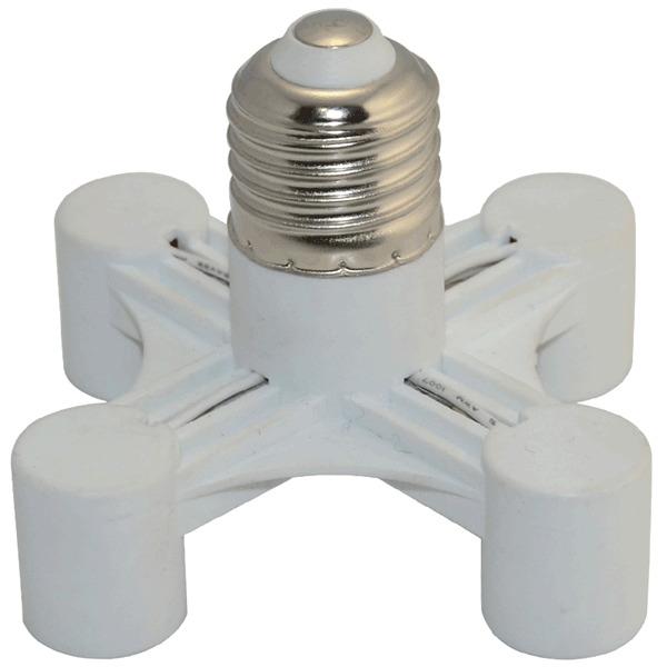 White Saving Power Light Lamp Bulb Base 4-in-1 Adapter Holder Socket Splitter