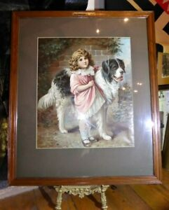 Vintage-PEARS-ADVERTISING-PRINT-Young-Girl-with-Large-Dog-Oleograph-Colour-Litho