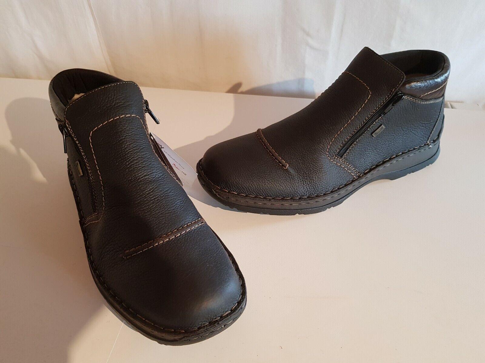 Rieker 05372-27 Herren Leder Stiefel mit Reißverschluss dunkelbraun Größe 46 NEU