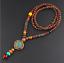 Lange-Halskette-Nepal-Boho-Anhaenger-Retro-Vintage-Holz-Handgefertigt-Perlen Indexbild 13