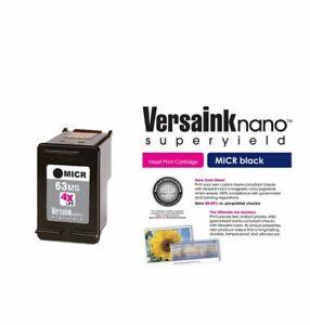 VersaInk-Nano HP 63 MS Black MICR Ink Cartridge for Check Printing New