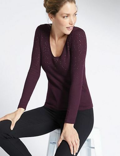 Per Una, m&s prune Tricot Sparkle Pull Taille en laine mélangée Taille Pull 16, Bnwt 0c417f