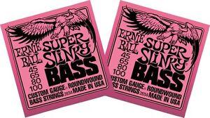 2-x-Packs-ERNIE-BALL-SLINKY-ELECTRIC-BASS-GUITAR-STRINGS-SUPER-45-100