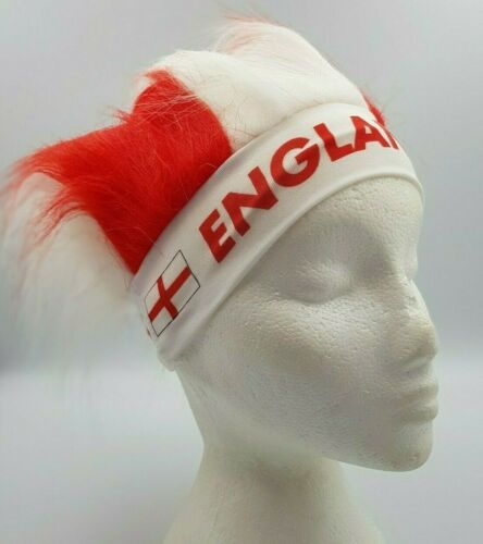 England Supporters Red and White Novelty Fun Headband with Hair