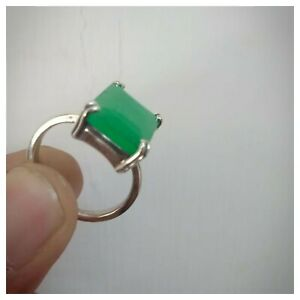 925-Sterling-Silver-Natural-Certified-Handmade-Emerald-Octagon-Shape-Ring