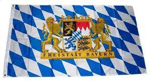 Flagge-Fahne-Freistaat-Bayern-Loewen-Schrift-Hissflagge-90-x-150-cm