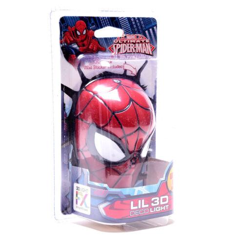 Marvel Avengers Mini Spider Man Head Room Decor 3D FX Wall LED Night Light New