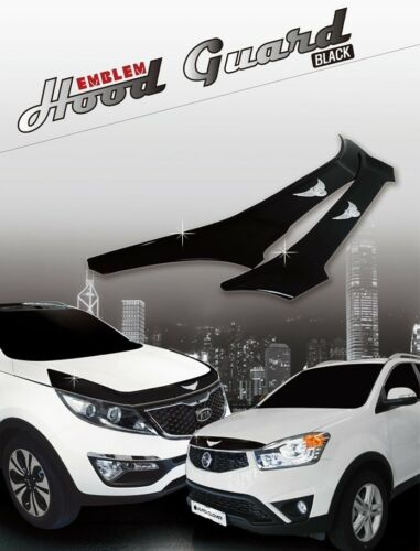 Bonnet Hood Guard Black Garnish Deflector 1Pcs D579 for Hyundai ACCENT 2011~2017